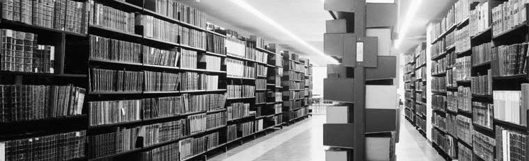 University of Edinburgh library, interior. View of book shelves, 1968. SC1030951