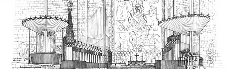 Coventry Cathedral. Perspective of sanctuary towards altar,1952. SC897020