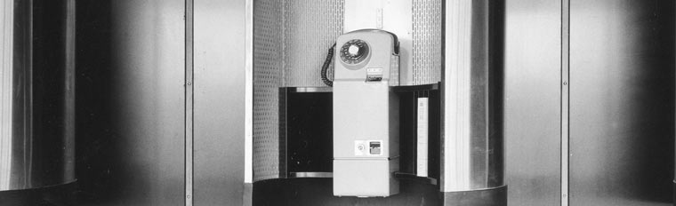 Glasgow Airport, interior. Detail of telephone booths, 1966. SC1012748.