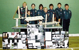 Cairneyhill Scouts with their bridge designs
