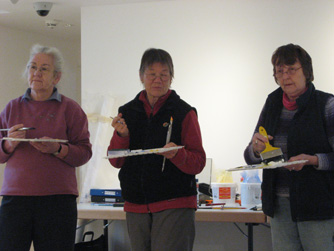 3 participants painting Orkney Maritime Heritage