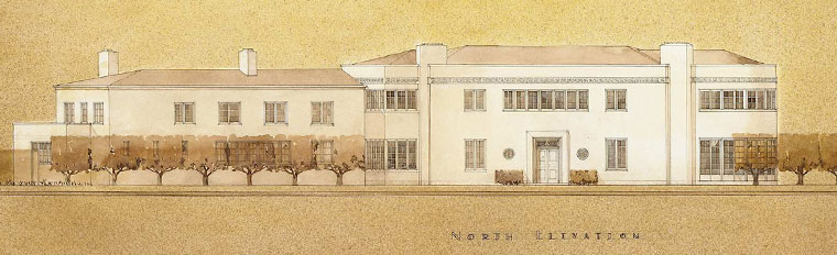 Gribloch. First floor plan and north elevation with proposed revisions by Perry Duncan, consultant architect. 21 Nov 1938. DP011988