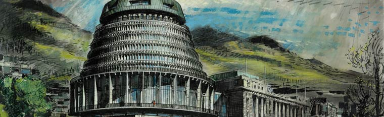 New Zealand parliament extension. Perspective drawing from south east, 1965. DP010852