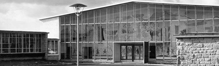 Duncanrig Secondary School. View of main entrance, 1956. SC1049641