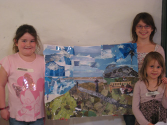 Girls demonstrating picture they made