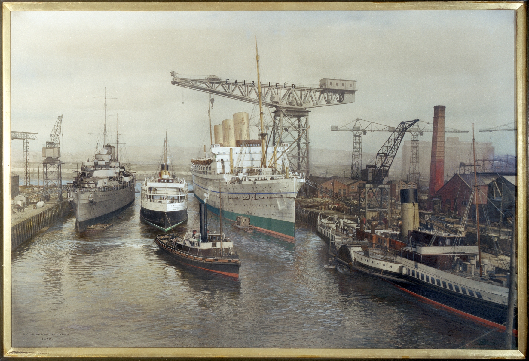 Glasgow, 1030-1048 Govan Road, Shipyard Offices. Photographic copy of painting of Fairfield's fitting-out basin. 1930